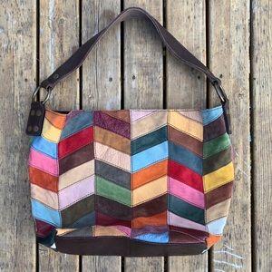 Lucky Brand Colorblock Chevron Hobo Shoulder Bag
